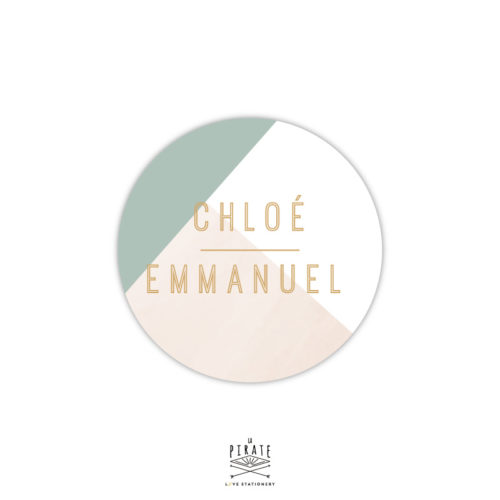 Stickers rond mariage graphique personnalisé de vos prénoms, pour parfaire la papeterie, cadeaux invités de votre mariage vintage, mariage élégant - La Pirate