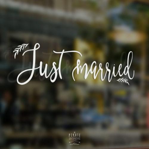 Stickers Just Married champêtre, stickers voiture mariage pour décorer avec originalité et élégance le cortège des mariés - La Pirate