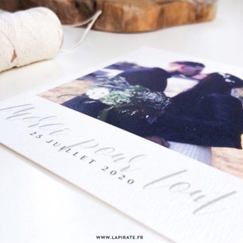 Carte remerciements avec photo, collection végétale, impression papier rive 300g - La Pirate