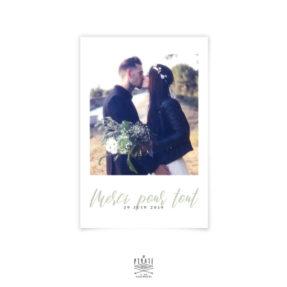 Carte remerciements mariage végétal, personnalisée avec votre photo de couple le jour de votre union. Une délicate attention à faire parvenir à vos invités après votre mariage - La Pirate