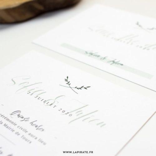 Détail faire-part mariage végétal, esprit minimaliste kinfolk, vert sauge et calligraphie