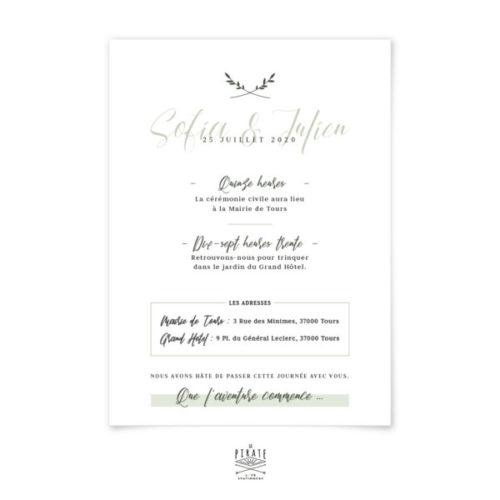 Faire-part mariage végétal à personnaliser pour votre mariage minimaliste, thème kinfolk.