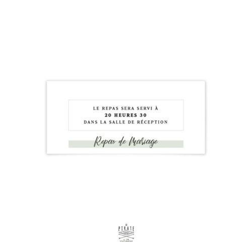 Carton d'invitation repas mariage végétal assorti à votre thème de mariage épuré et minimaliste, dans l'esprit kinfolk
