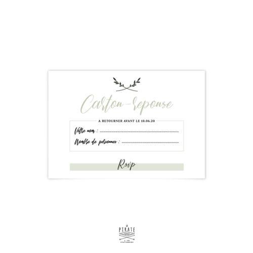 RSVP mariage végétal personnalisé pour votre mariage minimaliste et kinfolk