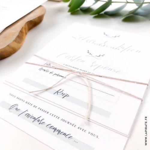 Rsvp mariage végétal à joindre au faire-part mariage minimaliste et kinfolk de la collection Végétale