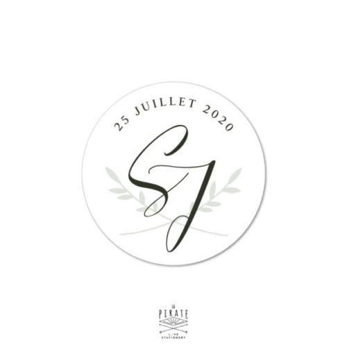 Stickers rond mariage initiales personnalisé pour votre mariage sur le thème végétal minimaliste