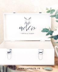Stickers urne mariage sur valise fer, personnalisé