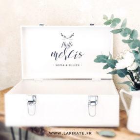 Stickers mille mercis urne mariage végétal, minimaliste. Stickers personnalisé pour votre urne de mariage, thème minimaliste et végétal - La Pirate