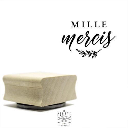 Tampon mille mercis en bois, motif fine branche champêtre, tampon scrapbooking, mariage en bois - La Pirate