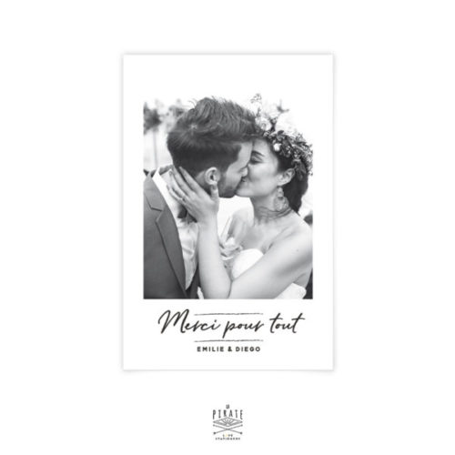 Carte remerciements mariage Pampa à personnaliser avec votre photo pour remercier les convives de votre mariage bohème, naturel, motif sauvage herbes de la Pampa - La Pirate
