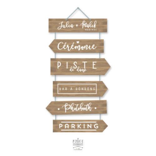 Lot de 6 stickers panneau directionnel pour créer un décor unique et original lors de votre mariage vintage