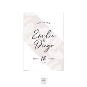 Save the date mariage Pampa personnalisé pour votre mariage bohème, motif herbe de la pampa ton sur ton, thème naturel et sauvage - La Pirate