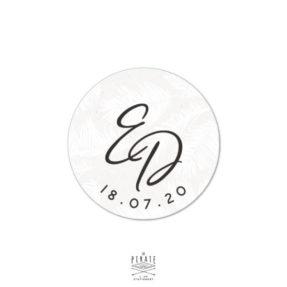 Stickers rond mariage pampa, personnalisé avec vos initiales pour votre thème bohème et naturel, motif sauvage herbes de la pampa - La Pirate