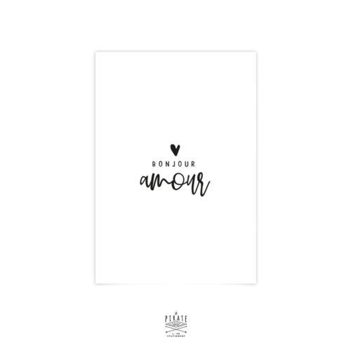 Carte bonjour amour avec espace d'écriture prévu au verso. Carte à message pour envoyer une lettre d'amour à votre chéri(e)
