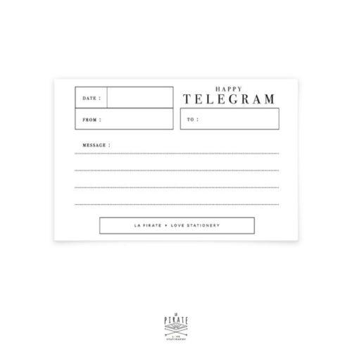 Carte à message, Happy Telegram avec emplacement pour écrire un petit message au verso - La Pirate