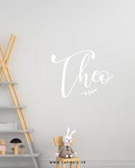 Stickers mural végétal personnalisé prénom, déco chambre d'enfant