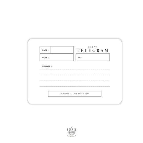 Verso Happy Telegram avec emplacement pour écrire un petit message au verso avec coins arrondis - La Pirate