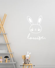 Stickers lapin blanc personnalisé prénom