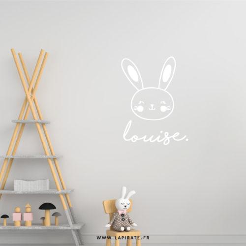 Stickers mural lapin personnalisé prénom pour déco de chambre d'enfant