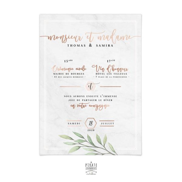 Faire Part Mariage Marbre Texte Dorure Cuivree Invitation Alba Elegante