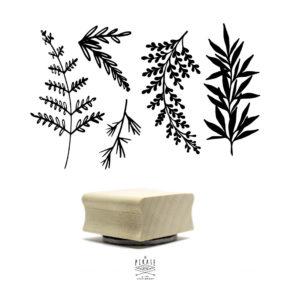 Tampon botanique en bois. Motif botanique dessiné à la main pour vos loisirs créatifs - La pirate