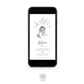 Faire-part naissance garçon botanique, personnalisé avec la photo de bébé. Faire-part naissance au format numérique à envoyer par e-mail ou SMS - Modèle Antoine - La Pirate