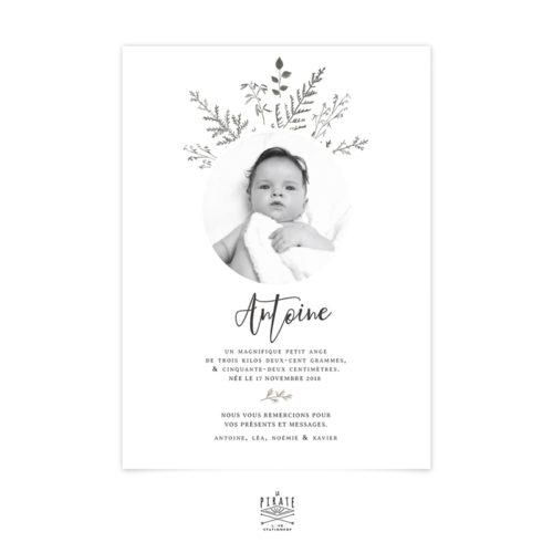 Faire-part naissance botanique garçon et dégradé de vert, personnalisé avec photo de bébé. Faire-part naissance original - Modèle Antoine - La Pirate