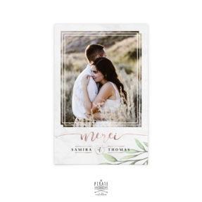 Carte de remerciements mariage personnalisé avec photo, Remerciements marbre et impression cuivre métallisée - La Pirate