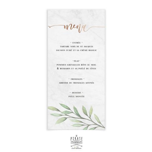 Menu mariage marbre et cuivre, et fine branche d'eucalyptus personnalisé pour votre mariage élégant -La Pirate