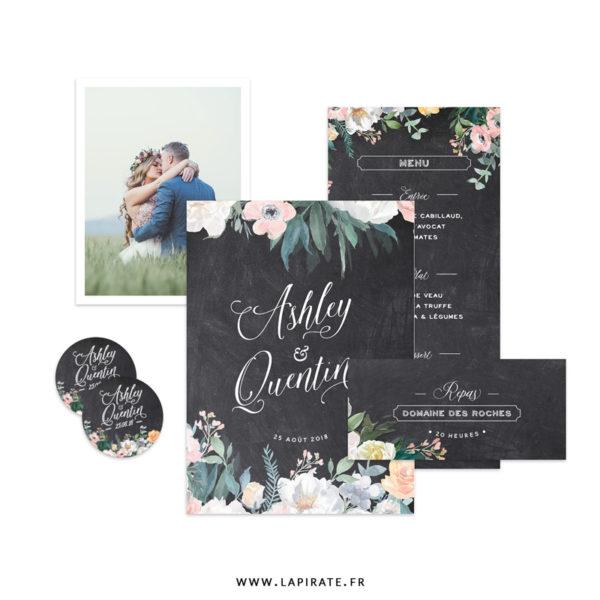 Papeterie Ardoise et fleurs aquarelles à personnaliser pour votre mariage vintage ou fleuri. Une papeterie fine sur fond ardoise et composition florale aquarelle