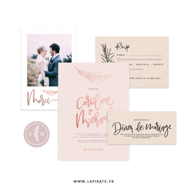 Papeterie mariage calque et cuivre, thème bohème à personnaliser pour votre mariage. Collection mariage Sahanna - La Pirate