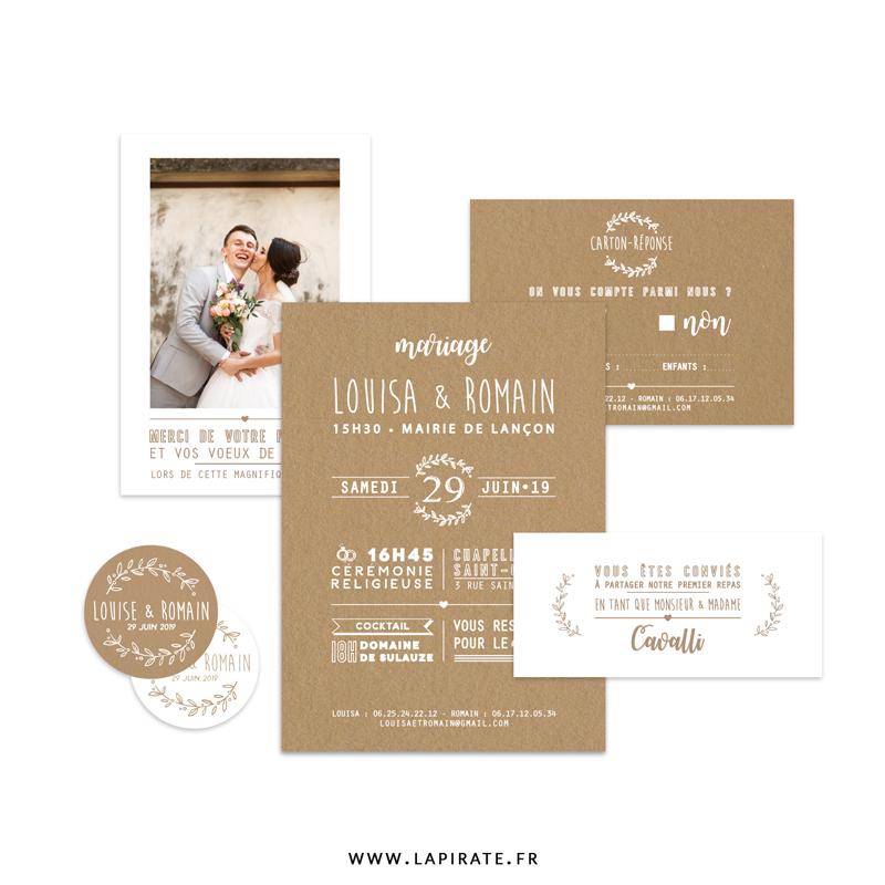 Papeterie mariage personnalisé, thème champêtre et provençal, rameau d'olivier sur fond effet kraft - La Pirate