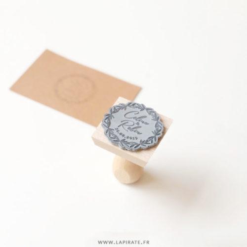 tampon couronne naturelle personnalisé pour votre mariage bohème, champêtre ou minimaliste