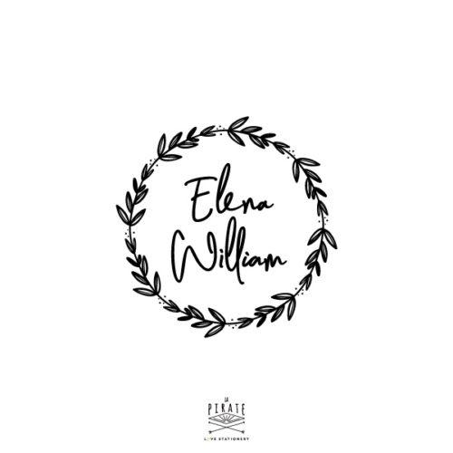 Tampon mariage personnalisé couronne naturelle avec vos prénoms dans une police manuscrite sur le thème végétal, naturel ou encore bohème, - La Pirate