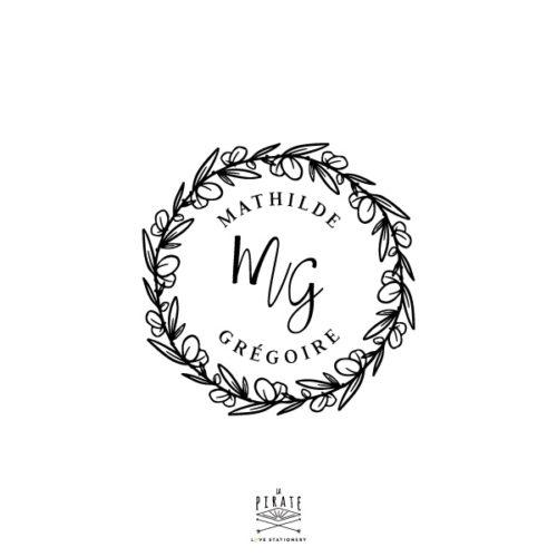 Tampon mariage couronne d'eucalyptus Silver dollar, personnalisé de vos prénoms & initiales à apposer pour la papeterie et décoration de votre mariage