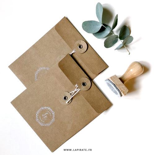 Tampon mariage couronne d'eucalyptus, personnalisé prénom et initiales, mariage bohème