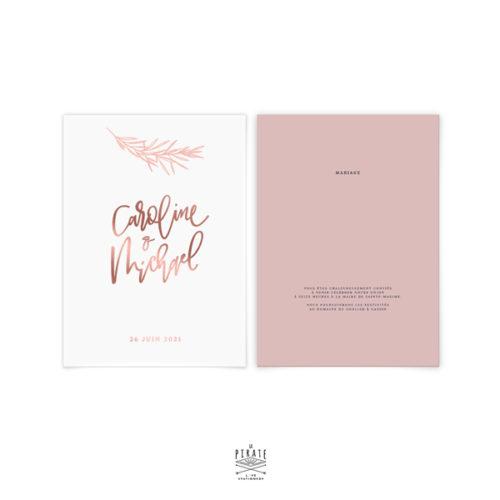 Faire-part mariage calque et vieux rose, personnalisé pour votre mariage bohème chic | Collection Sahanna - La Pirate