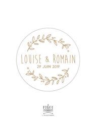 Stickers rond mariage champêtre, fond blanc