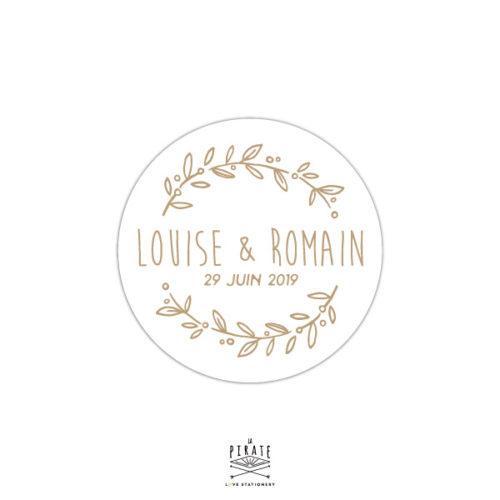 Stickers rond mariage champêtre personnalisé, fond blanc - La Pirate