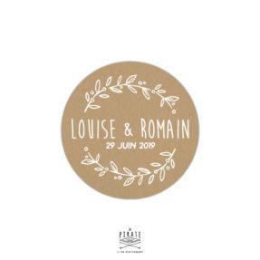 Stickers rond mariage champêtre personnalisé, effet kraft texte blanc - La Pirate