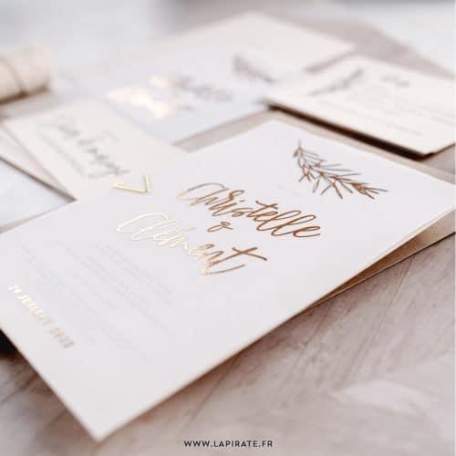 Faire-part mariage calque et cuivre personnalisé, collection Sahanna - version rose