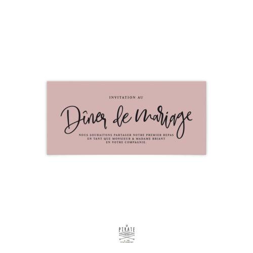invitation repas mariage bohème, personnalisée sur papier teinté vieux rose, mariage bohème | Collection Sahanna - La Pirate