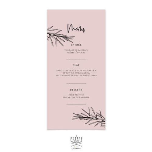 Menu mariage bohème chic, personnalisé pour votre mariage. Papier de création vieux rose & impression noir | Collection Sahanna - La Pirate