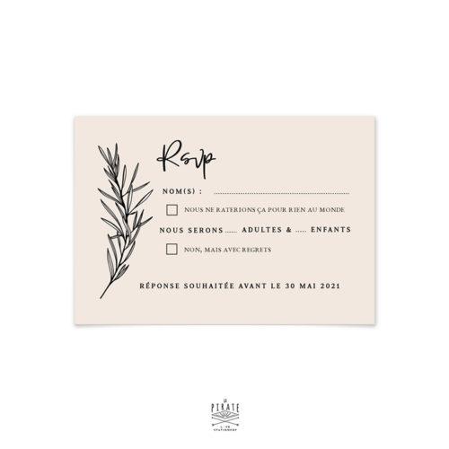 RSVP mariage bohème chic personnalisé sur papier de création biscuit & impression en noir | Collection Sahanna - La Pirate