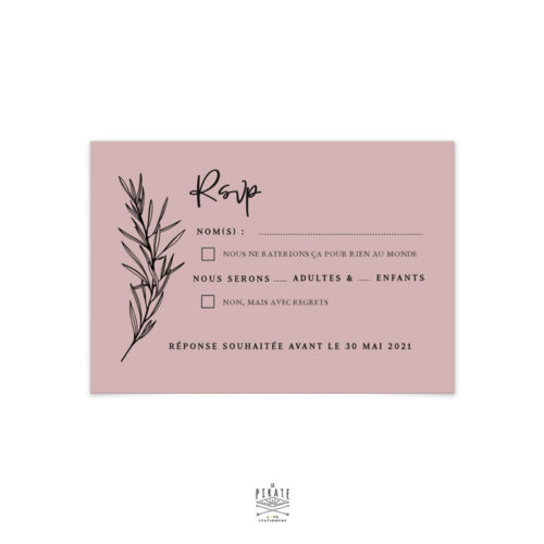 RSVP mariage bohème chic personnalisé sur papier de création vieux rose & impression en noir | Collection Sahanna - La Pirate