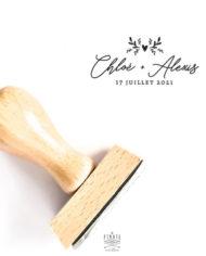 Tampon mariage calligraphie bohème et motif coeur végétal, personnalisé en bois