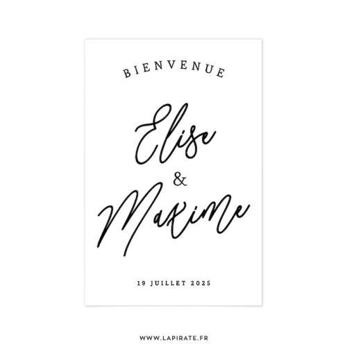 Stickers bienvenue calligraphie personnalisé pour votre mariage - noir sur blanc - La Pirate