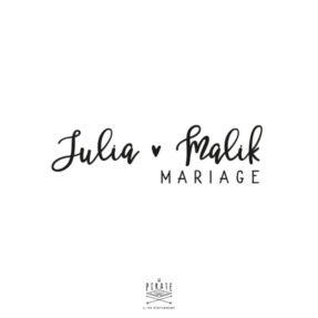 Stickers prénoms mariage vintage personnalisé - La Pirate