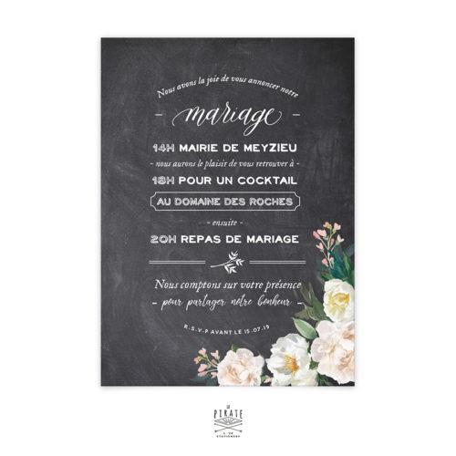 Faire-Part Mariage Ardoise, calligraphie et Fleurs Aquarelles, Programme au Verso à personnaliser