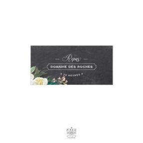 Invitation repas mariage ardoise, mariage rétro et fleurs aquarelles à personnaliser